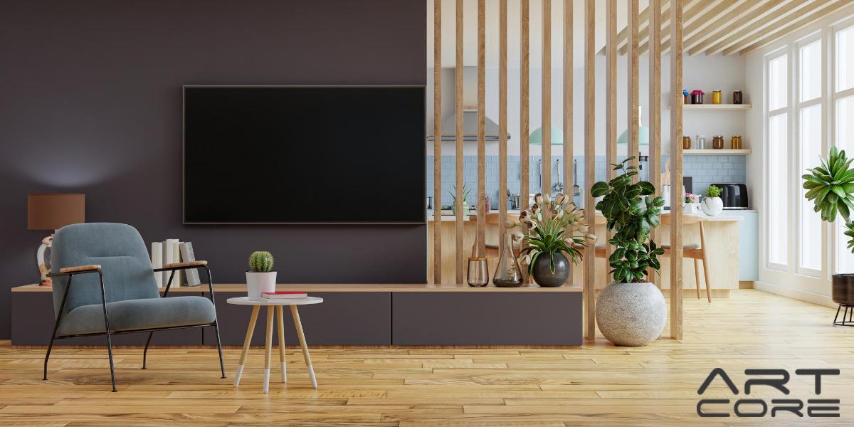 nowoczesny salon z drewnianą podłogą